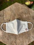 asana ヘンプコットン 刺繍入り 立体 布マスク・きなり<5枚セット>
