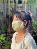 asana ヘンプコットン 麻柄プリント 調整 立体 布マスク