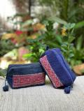 asana HEMP100% 古布 手刺繍 スクエア ポーチ