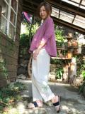 asana x marumushi ゆるりパンツ・きなり・麻柄刺繍