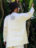 asana HEMP100% 麻柄刺繍 ロングスリーブ・きなり