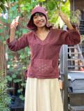 asana ヘンプコットン ふかふか 麻柄手刺繍 ゆったり パーカー