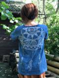 asana x Mandalaya メンズ ラグランTee・藍染め