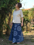 asana x Mandalaya HEMP100% ガーゼ バイアス 巻きスカート・藍染め