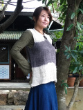 HEMP100% 手編みベスト・草木染め