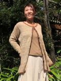 HEMP100% 手紡ぎ糸 手編み丸首カーディガン
