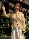 HEMP100% 手紡ぎ糸 手編み衿つきカーディガン