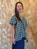 麻柄 インディゴ プリント シャツ