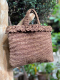 HEMP100% かぎ編み ハンドバック 草木染め(1点もの)