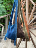 HEMP100% 手織り手縫い 縄文 ショルダーバッグ・草木染め