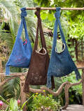 HEMP100% 麻柄手刺繍 手織り手縫い 縄文 ショルダーバッグ・草木染め