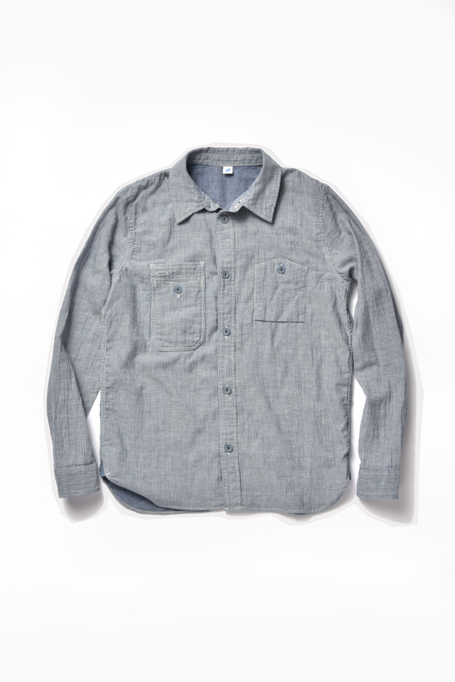 [2215-1] Double Gauze Indigo Work Shirt (Vertical Stripe)