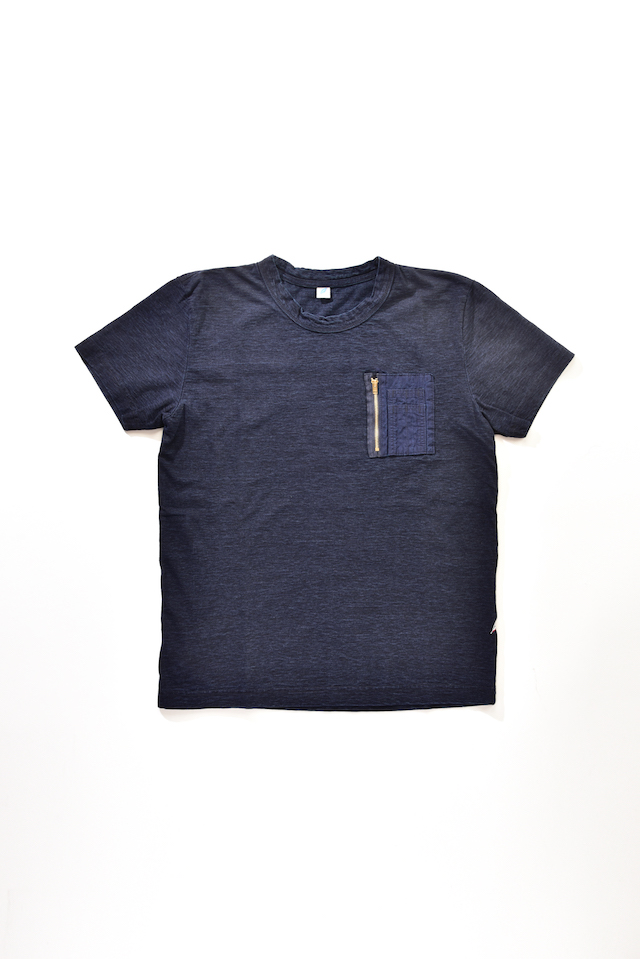[5385] Indigo Jersey T-shirt with Cigarette Pocket