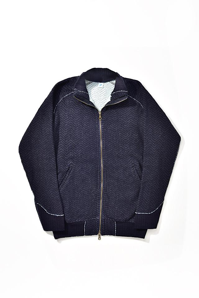 [5392-2] Indigo Jacquard Zip-up Sweatshirt (Herringbone)