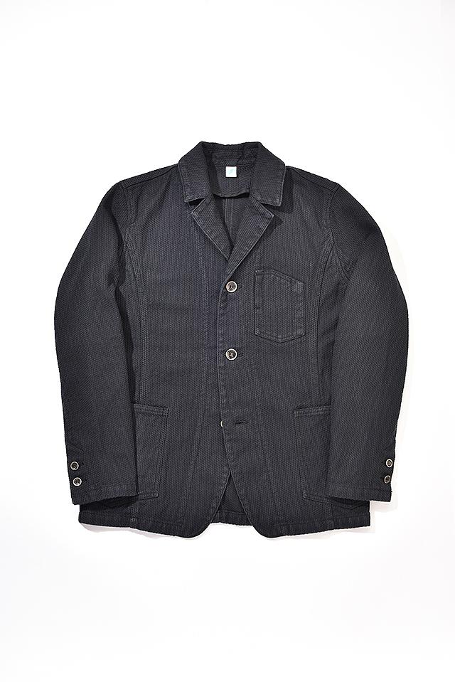 [6075-BB] Sashiko Tailored Work Jacket (Double Black)