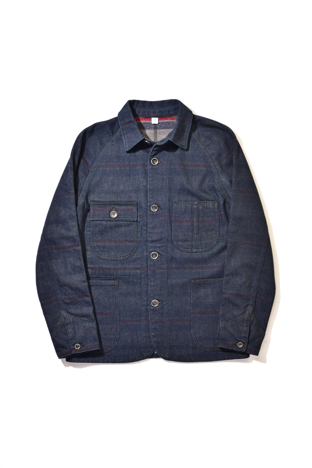 [6102] Denim x Stripe Double Faced Raglan Jacket