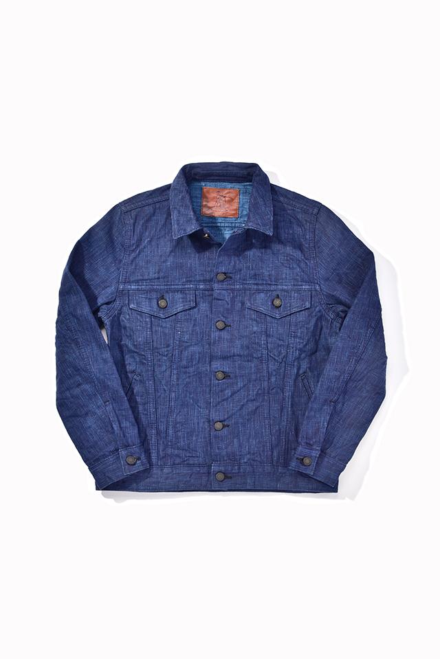 [6105-1] 17.5oz. Dark Natural Indigo x Light Natural Indigo Hand Dyed Denim Type 3 Jacket