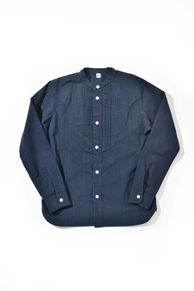 [2208-2] Double Natural Indigo Chambray Standing Collar Pintuck Shirt