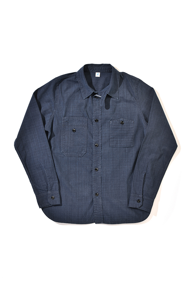 [2209-2] Double Natural Indigo Chambray Work Shirt