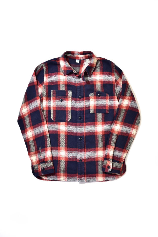 [2212-1] Indigo Check Flannel Work Shirt (Red)