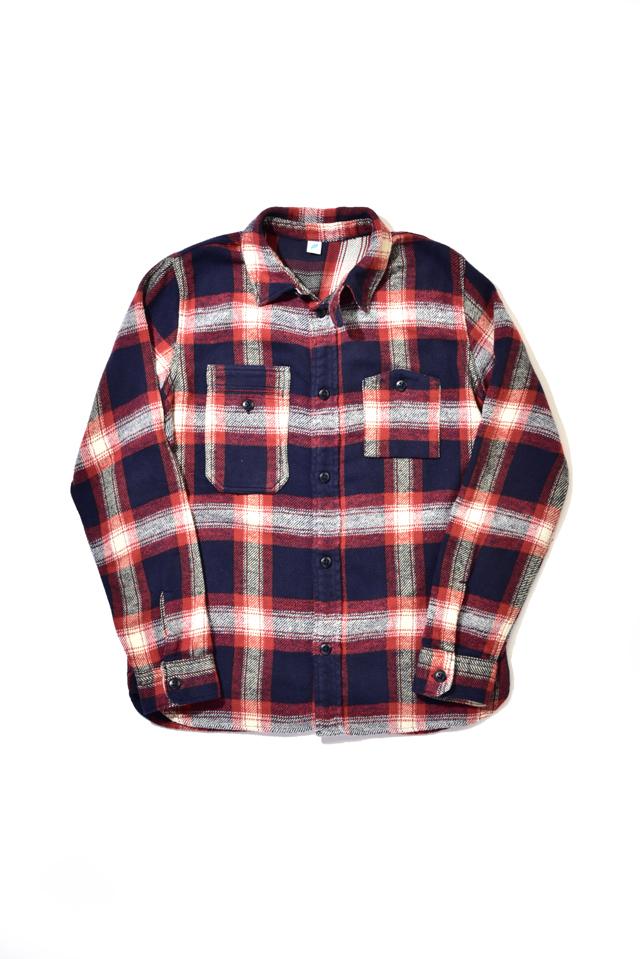 [2212-1] Indigo Check Flannel Work Shirt (Red)