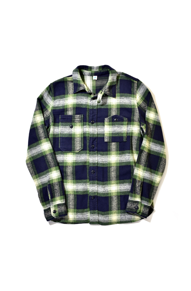 [2212-2] Indigo Check Flannel Work Shirt (Green)