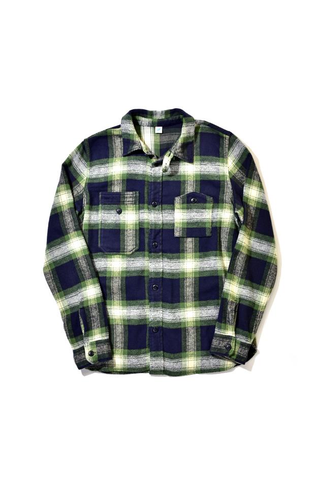 [2212-2] Indigo Check Flannel Work Shirt (Green)