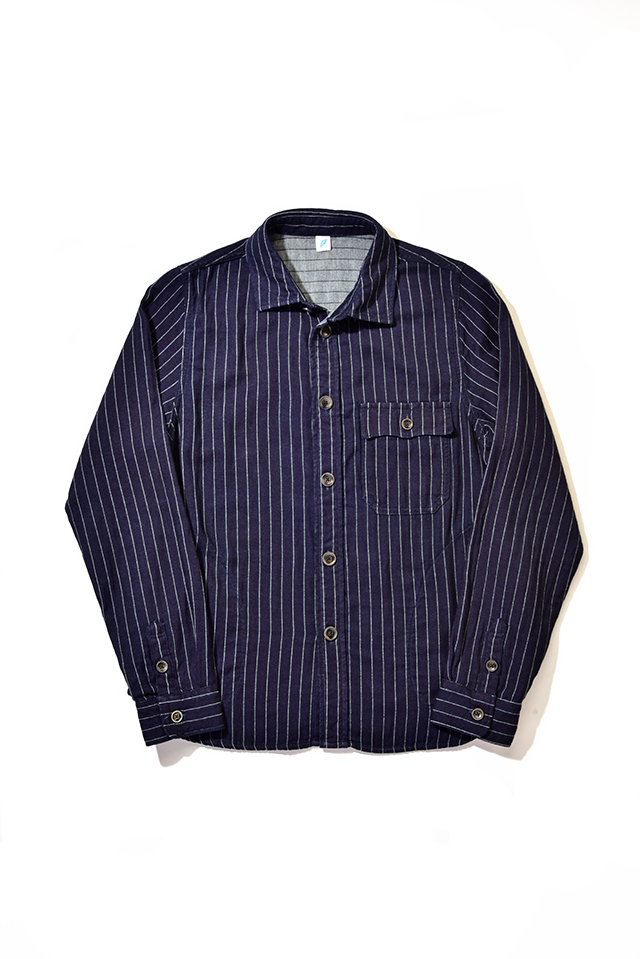 [2214-2] CPO Shirt (Indigo Striped Double Gauze)