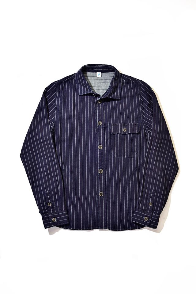 [2214-2] CPO Shirt (Indigo Striped Double Gauze)