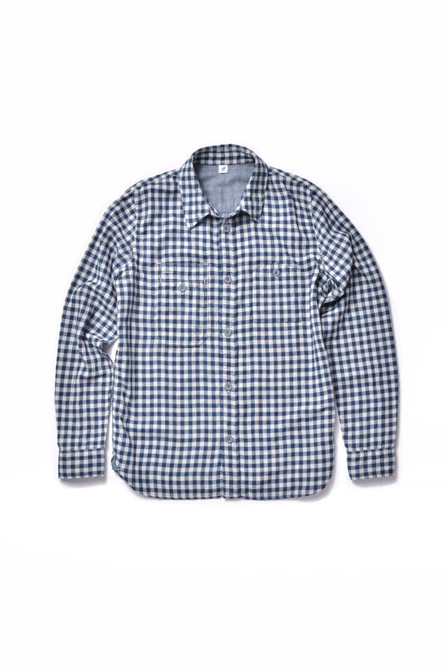 [2215-2] Double Gauze Indigo Work Shirt (Block Check)