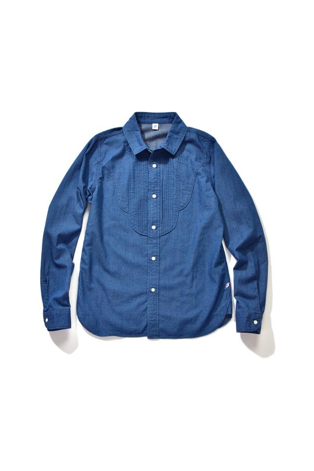 [2216-1] Herringbone Denim Pintuck Shirt