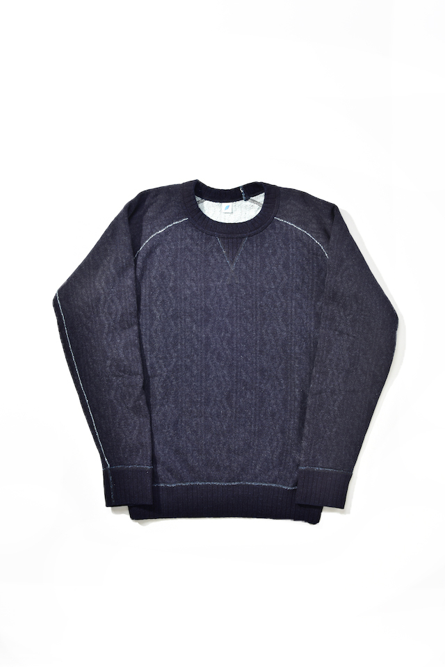 [5390-1] Indigo Jacquard Sweatshirt (Cable Stitch)