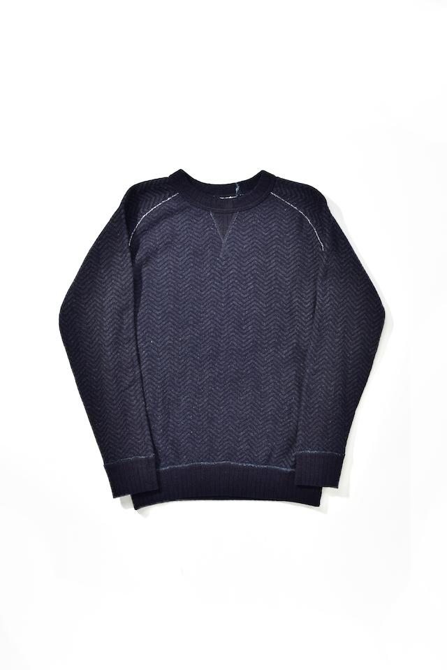 [5390-2] Indigo Jacquard Sweatshirt (Herringbone)