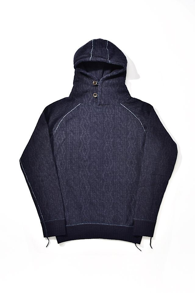 [5391-1] Indigo Jacquard Hoodie (Cable Stitch)