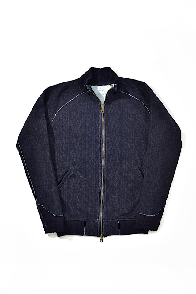[5392-1] Indigo Jacquard Zip-up Sweatshirt (Cable Stitch)