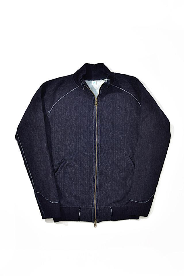 [5392-1] Indigo Jacquard Zip-up Sweatshirt (Cable Stitch)