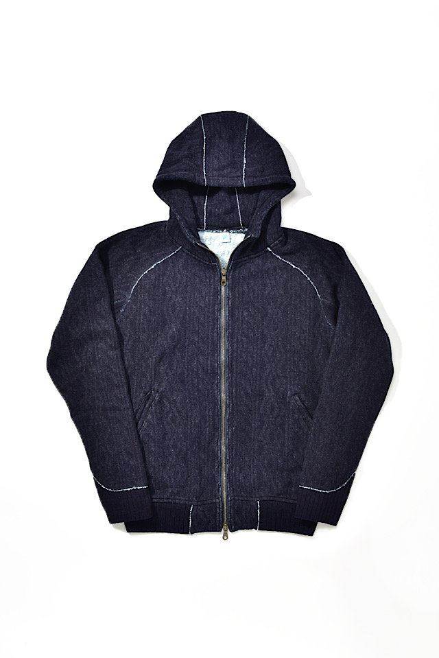 [5393-1] Indigo Jacquard Zip-up Hoodie (Cable Stitch)