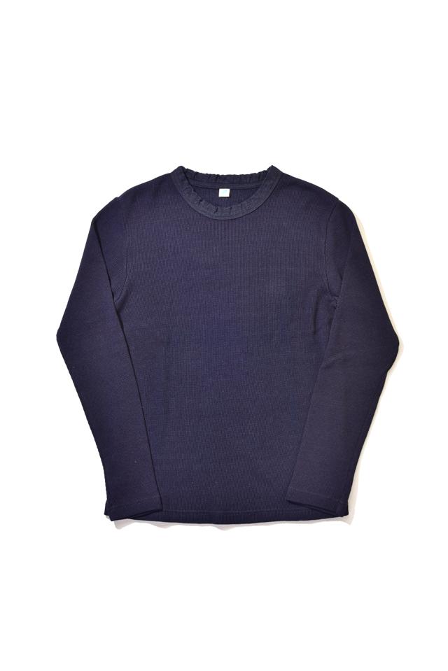[5394] Indigo Waffle Crew-neck Long Sleeved T-shirt