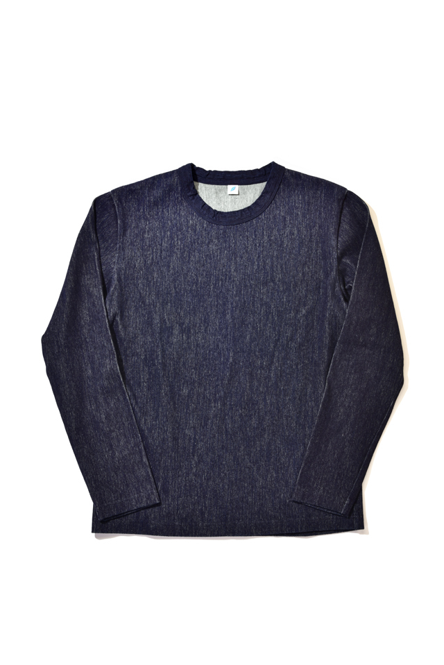 [5395] Indigo Twill Jersey Crew Neck Long Sleeved T-shirt
