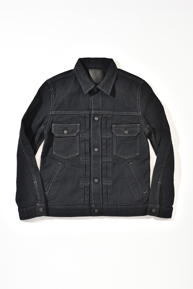 [6096-BB] Selvedge Black Sashiko Denim Type 2 Jacket