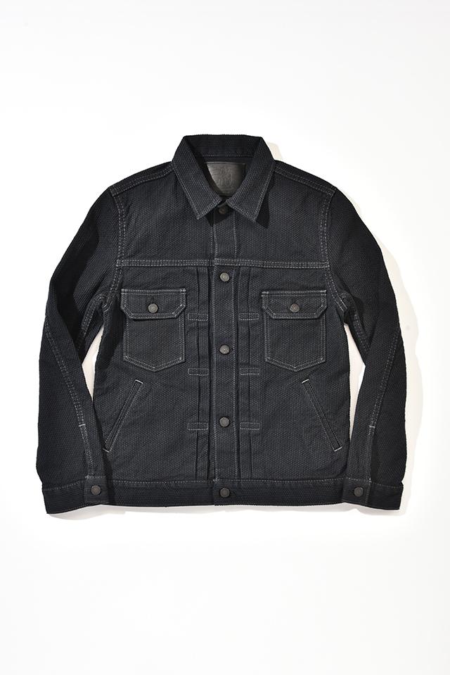 [6096-BB] Selvedge Black Sashiko Denim Type 2 Jacket