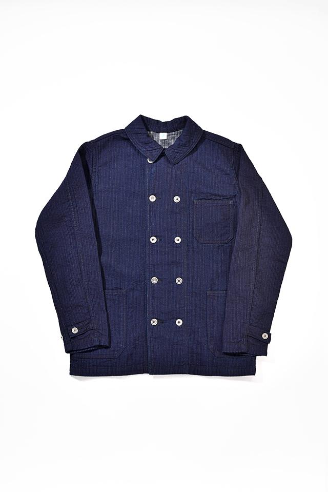 [6100-1] Double Breasted Chore Jacket (Stitch Stripe)