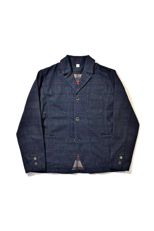 [6101] Denim x Stripe Double Faced Tailored Jacket