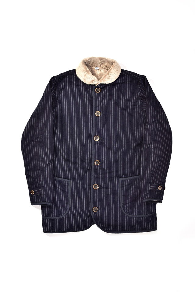 [6103-2] Indigo Twill x Microfur Double Faced Short Coat (Wabash)
