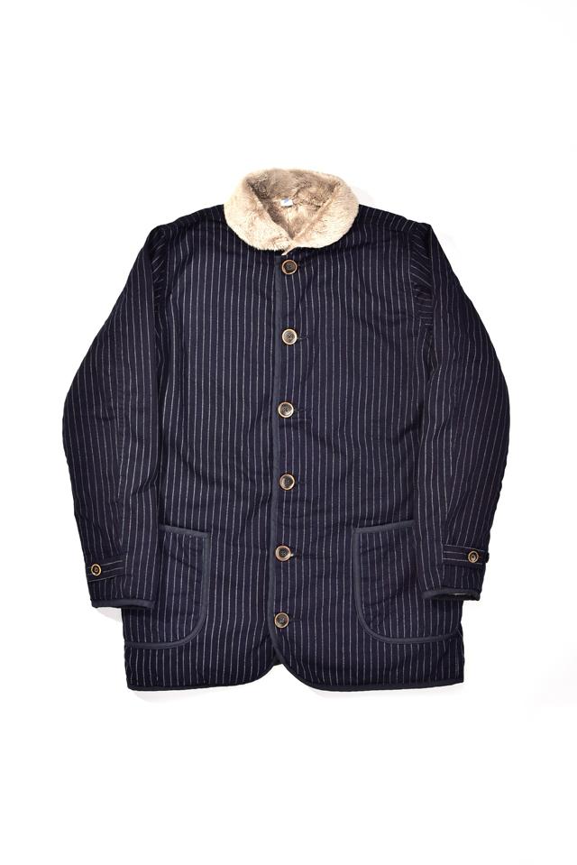 [6103-2] Indigo Twill x Microfur Double Faced Short Coat (Wabash)