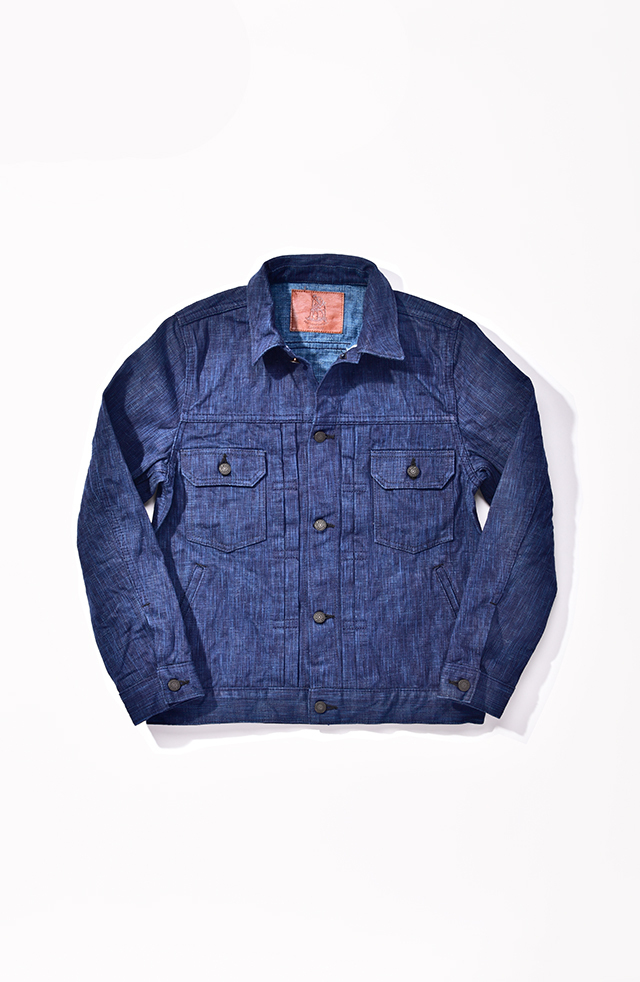[6104-1] 17.5oz. Dark Natural Indigo x Light Natural Indigo Hand Dyed Denim Type 2 Jacket