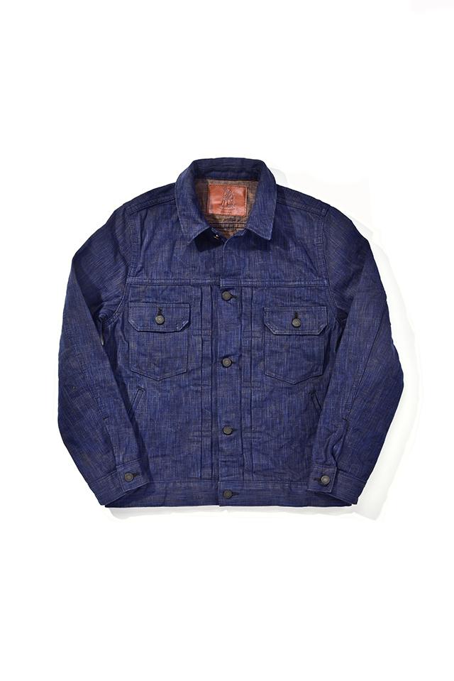 [6104-2] 17.5oz. Natural Indigo x Kakishibu Hand Dyed Denim Type 2 Jacket