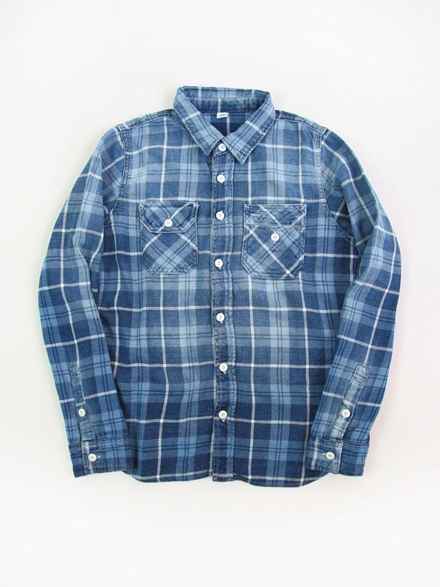 [2196 C#1] Indigo Check Sunburned Shirt (C/#1)