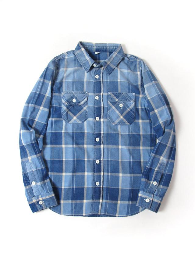 [2196 C#2] Indigo Check Sunburned Shirt (C/#2)