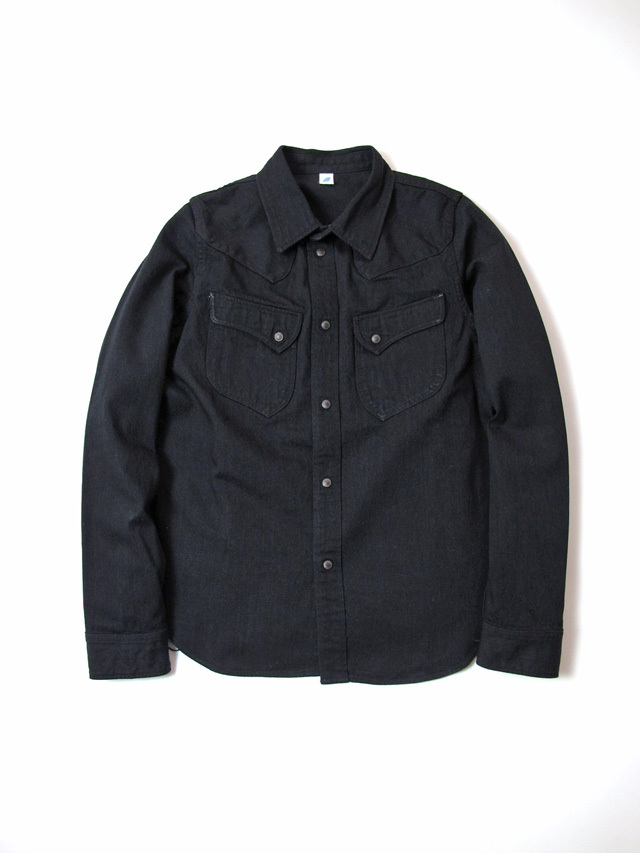 [2197] 8oz. Selvedge Denim Rounded Pocket Western Shirt (Double Black)